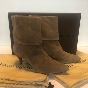 Louis Vuitton Tan Suede Ankle Boots